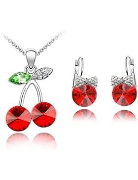 S521 Wunderschönes Schmuckset, runde Ohrringe und Halskette mit Anhänger, rote Kirschen