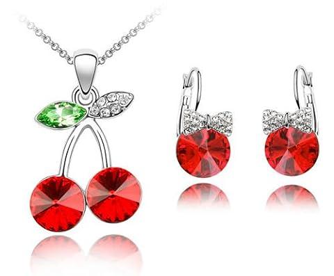 Amazing Rouge Cerises Parure Boucles d'oreilles et Collier avec pendentif rond S521)