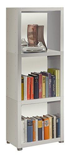 Bücherregal Raumteiler READY 31R in Weiß Seidenmatt mit Rückwand in Weiß Seid...