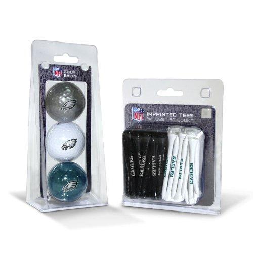 Team Golf NFL Logo aufgedruckte Golfbälle (3 Count) & 5,1 cm Regulierung Golf Tees (50 Count), Mehrfarbig, Philadelphia Eagles, One Size Fits All