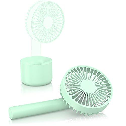 CSL - Ventilator Togo mit Akku | Handventilator USB Tischventilator Ventilator wiederaufladbar | 3-stufige Geschwindigkeitsregelung | Energiesparend (nur 4W) | LED-Anzeige | Hoher Luftdurchsatz (Leis Blumen In)