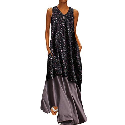 Damen Sommerkleid, Plus Size Floral bedruckte V Ausschnitt Baumwolle Leinen ärmellose Maxi Kleider