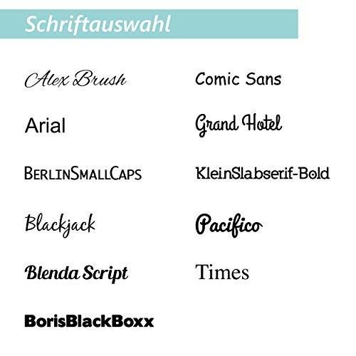 Wandkings Hausnummernschild – verschiedene Designs und Schriftarten wählbar / Schrift: Alex Brush – Name und Hausnummer - 7