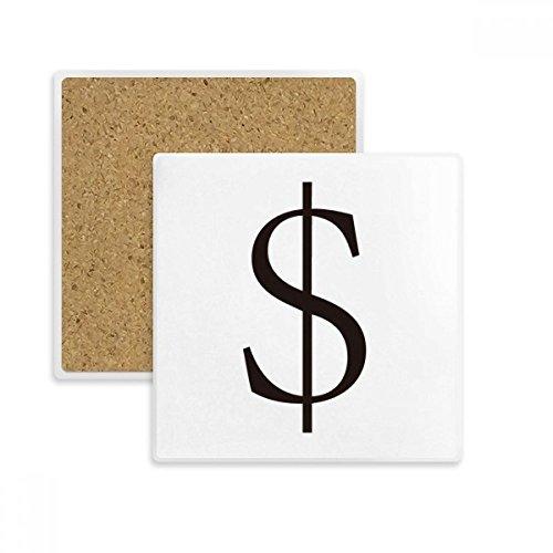 DIYthinker Währungssymbol US-Dollar-Platz Coaster-Schalen-Becher-Halter Absorbent Stein für Getränke 2ST Geschenk Mehrfarbig