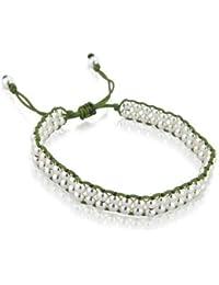 Sterling silver silk Army green Friendship Bracelet
