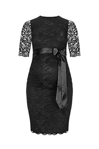 Schwarzes Cocktail Schwangerschaftskleid aus Spitze knielang mit 3/4 Arm