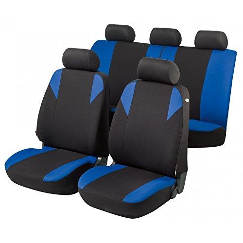 RMG R12V307 coprisedili compatibili per YARIS fodere auto R12 neri blu per sedili con airbag braciolo e sedili sdoppiabili
