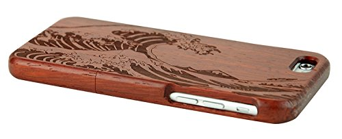 SunSmart Einzigartigen, handgefertigten Original Natural Wood Holzfest Bambus Case/Hülle/Tasche für iPhone 6 Plus 5.5'' (ahorn-Union Jack) redwood-meer welle