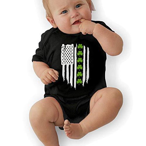 fdgjydjsh St. Patrick's Day Irish American Flag Funny Baby Onesies Novelty Toddler Infant Bodysuits Short Sleeve Black 2T Irish Infant Bodysuit