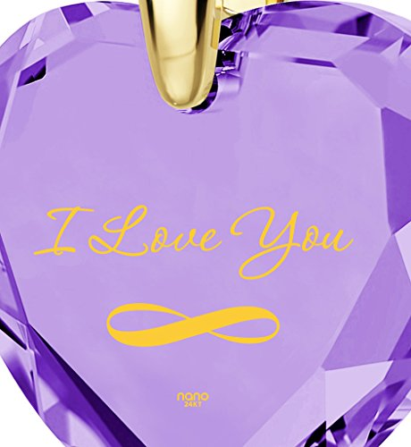 Pendentif Coeur - Bijoux Romantique Plaqué Or avec I Love You et le symbole de l'infini inscrits à l'Or 24ct sur un Zircon Cubique en Forme de Coeur, Chaine en Or Laminé de 45cm - Bijoux Nano Violet Clair