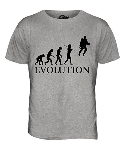 CandyMix Raketenrucksack Jetpack Evolution Des Menschen Herren T Shirt Grau Meliert