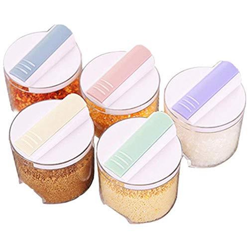 G.YO - Set di 5 contenitori trasparenti per spezie, spezie, sale e zucchero