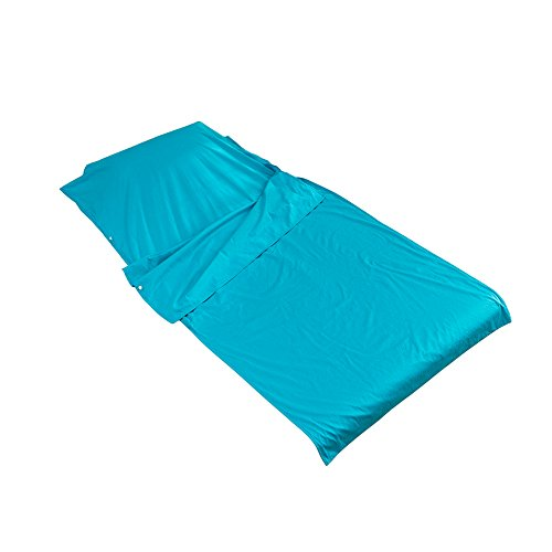 Outry lenzuolo da viaggio e da campeggio, fodera per sacco a pelo 100% cotone (blu, medie - 115cm x 210cm)