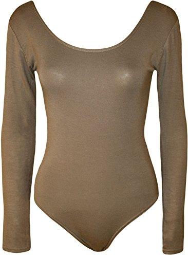 janisramone Damen Bardot Wet Look Lange Ärmel Stretch Bodysuit Top Lace MOCHA LONG SLEEVE