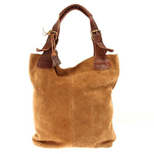 Echt-Leder Wildleder Damentasche Handtasche für Damen Shopper für Freizeit, Büro oder Shopping Beuteltasche Frauen Ledertasche Veloursleder 34x35x10cm cognac LE0033-V ()