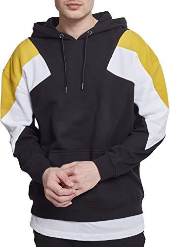 Urban Classics Herren Kapuzenpullover Oversize 3-Tone Hoodie, Mehrfarbig (Blk/Honey/Wht 01433), M Colorblock Pullover Hoody