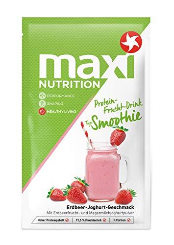 MaxiNutrition Protein Smoothie Erdbeere - Fruchtiger Protein Drink mit Erdbeer-Joghurt Geschmack für den Muskelaufbau - 5 x 26 g Protein Shake im Beutel - Frucht-smoothie-drinks