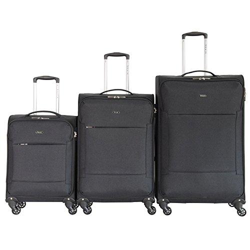 Shaik Serie FLEDER Design PVG 3 Größen M | L | XL | Set | Softcase Weichgepäck Kofferset, 4 Doppelrollen, Zahlenschloss … (Set, Schwarz) (Case Laptop Vertical Rolling)