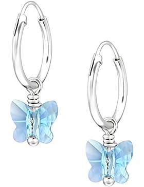 JAYARE Kinder Creolen Schmetterlinge 925 Sterling Silber Swarovski Elements Kristalle 18 x 6 mm Mädchen Ohrringe...
