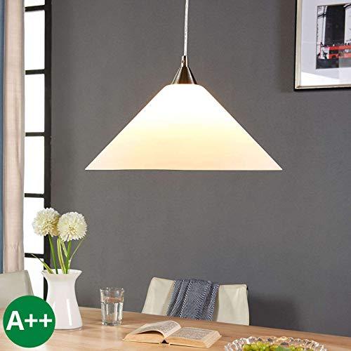 Lampenwelt Pendelleuchte 'Petra' dimmbar (Modern) in Weiß aus Glas u.a. für Küche (1 flammig, E27, A++) - Hängelampe, Esstischlampe, Hängeleuchte, Küchenleuchte -