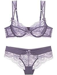 Zhhlinyuan Breathable Comfort Lace Lingerie Through Bra   Panties Moda Mujer  Delgado de Sujetador y Bragas Conjuntos… f09d6f335a93
