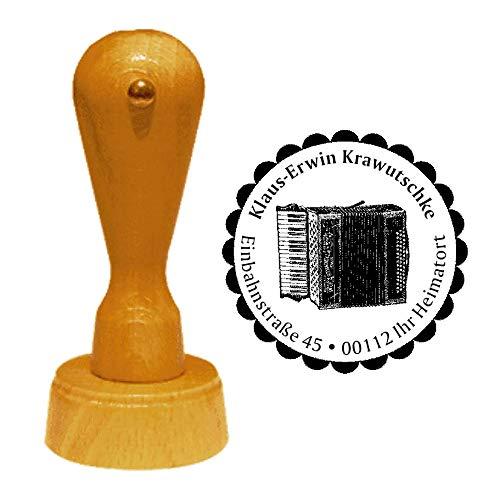 Stempel Adressstempel « AKKORDEON » Durchmesser ca. Ø 40 mm - mit persönlicher Adresse, Motiv und Zierrand - Musik Instrument