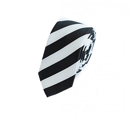Fabio Farini Seidenweiche Krawatte 6 cm in verschiedenen Farben, Schwarz-Weiß gestreift -