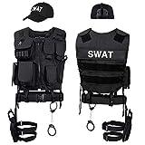 Black Snake SWAT FBI Police Security Kostüm inkl. Einsatzweste, Pistolenholster, Handschellen und Baseball Cap