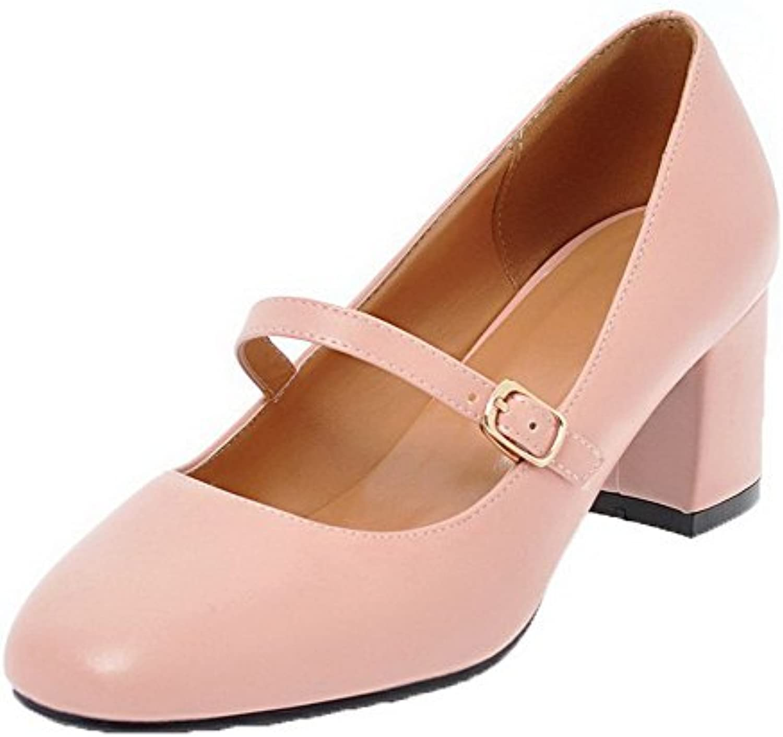 AalarDom Damen Ziehen auf PU Rein Mittler Absatz Pumps Schuhe