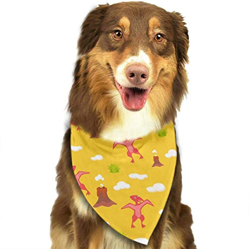 Sdltkhy Pet Bandana Funny Red Pterodactyl Yellow Washable and Adjustable Triangle Bibs for Pet Cats and Puppies (Pterodactyl Kostüm)