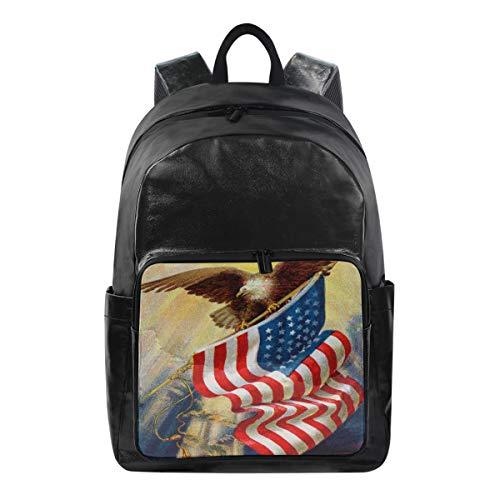 Lustiger Rucksack Vintage USA American Flag Eagle Schultertasche Wandern Camping Daypack Schule Reise Computer Tasche für Kinder Jungen Mädchen Männer Frauen -