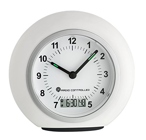 TFA Dostmann 60.1509.02 Analoger Funkwecker, mit digitaler Alarmzeit/Sekundenanzeige, mit Funkuhr, Hintergrundbeleuchtung, weiß, Kunstoff
