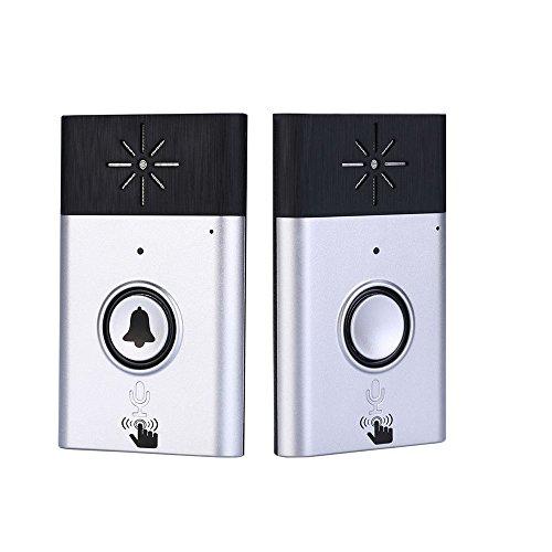 Owsoo campanello wireless voce citofono campane 2-vie talk monitor con 1*esterno unità pulsante 1* interno unità ricevitore casa intelligente sicurezza campanello per la porta, argento