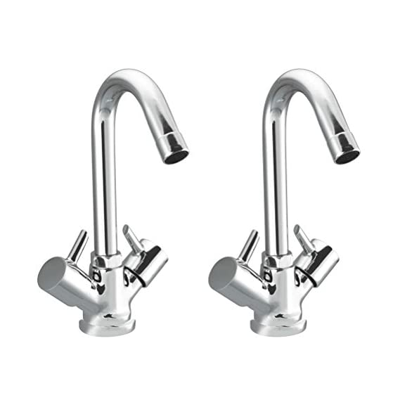 Drizzle Basin Mixer Flora Brass Chrome Plated/Centre Hole Basin Mixer/Pillar Cock Tap/Water Mixer Tap For Wash Basin/Bathroom Tap/Quarter Turn Foam Flow Tap - Set of 2