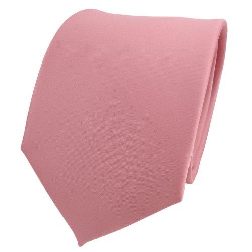 TigerTie Designer Satin Krawatte in rosa altrosa uni einfarbig Polyester - Schlips Tie Binder