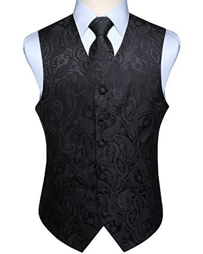 Hisdern Manner Paisley Floral Jacquard Weste & Krawatte und Einstecktuch Weste Anzug Set, Schwarz, Gr.-5XL (Brust 60 Zoll)