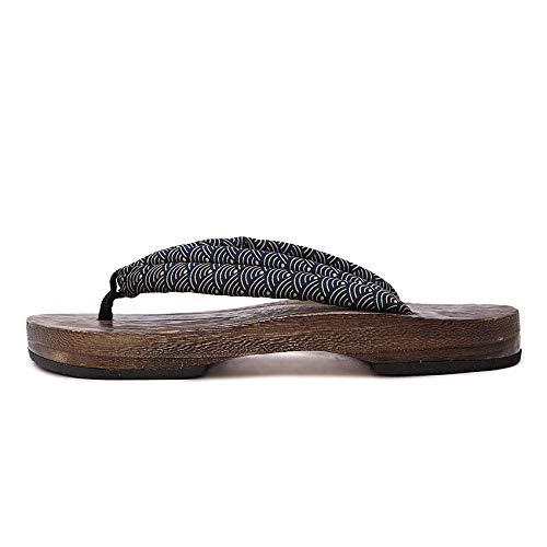 Y·z Sommer Mann Sandalen aus Holz Hausschuhe Paulownia Clogs Native Schuhe Round Toe Cosplay Kostüm Wohnungen Flip Flops @ A_41 (Für Männer Kostüme Schlafzimmer)