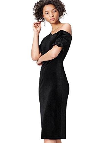 find. Kleid Damen mit asymmetrischem Off-Shoulder-Design und Rüschen an den Ärmeln Schwarz, 36 (Herstellergröße: Small)