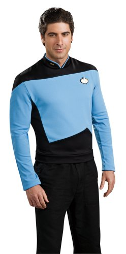 Deluxe Star Trek The next Generation Kostüm Uniform blau blaues Trekkiuniform Trekki mit Rangabzeichen Rang Abzeichen Föderation Deep Space Nine USS Enterprise Enterpriseuniform Commander Gr. L, M, XL, (Kostüm Trek Uniform Star Enterprise)