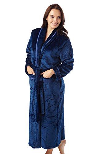 i-Smalls - Vestaglia da donna, lunga, invernale, morbidissima e calda Blu