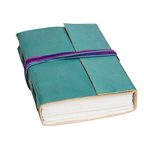 Fair Trade Tagebuch mit drei Bändern - leder - 110 x 155mm türkisblau aqua (Aqua Journal)