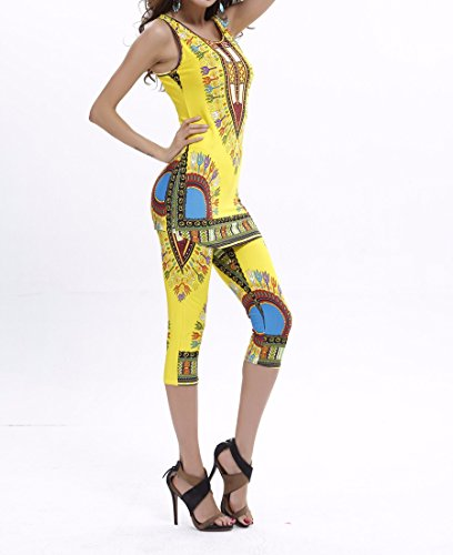 QIYUN.Z Gilets Femmes Africaines Design Imprimes Ete Definit Plus Size Svelte + Gilets Pantalons Bleu