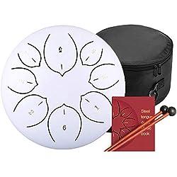 Tambor Metálico de Lengüetas Acero/Steel Tongue Drum Tambor de la Lengua Tongue Drum nstrumentos 6/8 Pulgadas con 8 teclas de notas y mazo Llevar Bolsas