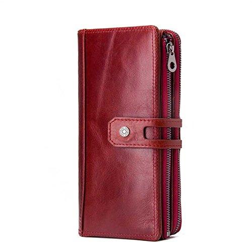 ieftasche Leder Fold Multi-Color Optional Unisex Geldbörse Business Purse Praktisches Einkaufen und Freizeit Business Casual tägliche Clutch (Farbe : Rot) ()