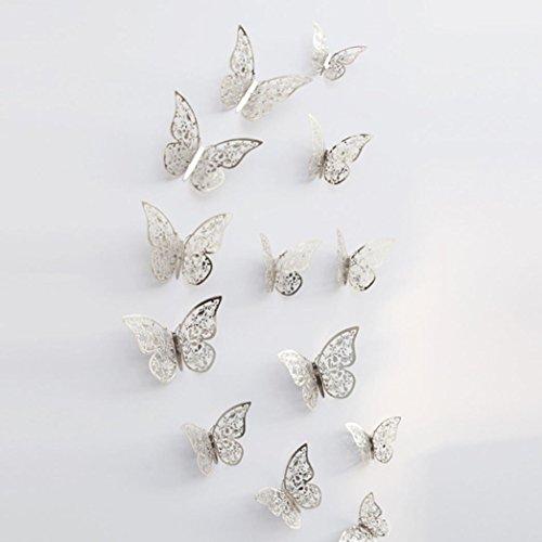 wandaufkleber wandtattoos Ronamick 12 Stücke 3D Hohlwandaufkleber Schmetterling Kühlschrank für Heimtextilien Neu Wandtattoo Wandaufkleber Sticker Wanddeko für Schlafzimmer Wohnzimmer Kinderzimmer (F)