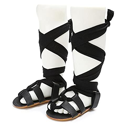 BéBé Chaussures ,OverDose BéBé Filles Mode Sandales à Gladiateur Calceus Bandage Cross-Tied Chaussures Sole Bambin Lit De BéBé Prewalker Sandales (12-18 Mois, Noir)