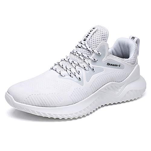 Herren Laufschuhe Gym Sportschuhe Straßenlaufschuhe Outdoor Trainers Atmungsaktiv Turnschuhe Joggen Schuhe Freizeit Sneaker(1810/Weiß,40EU) (Herren Atmungsaktive Schuhe)