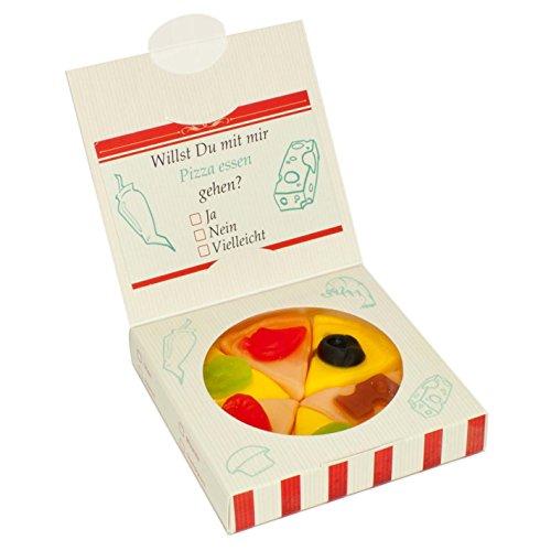Kleine Fruchtgummi-Pizza, die extra süße Verführung in einem Pizza Karton mit Einladung zum Essen...