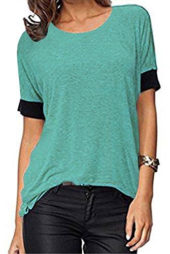 ELFIN® Frauen Damen T-Shirt Rundhals Kurzarm Ladies Sommer Casual Oberteil Locker Bluse Tops - weiches Material - sehr angenehm zu tragen