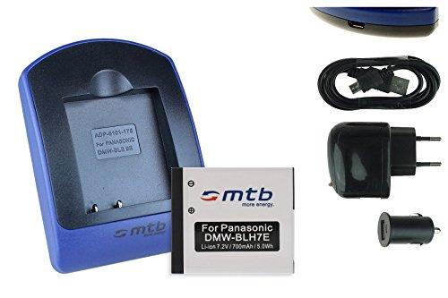 Batteria + Caricabatteria (USB/Auto/Corrente) DMW-BLH7 per Panasonic Lumix DC-GX800 / DMC-GF7 / DMC-GM1, GM5 / DMC-LX15